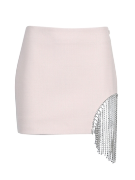 Neutral crystal fringe mini skirt