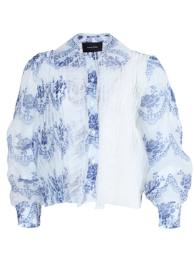 Simone Rocha - White And Blue Sheer Ruffled Blouse - Women