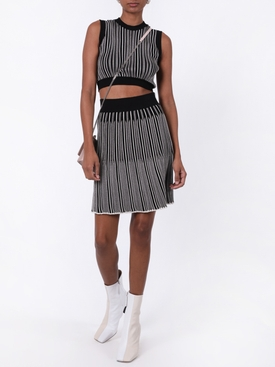 Adelita black and white pleated skirt