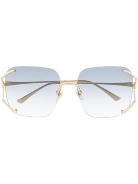 Blue rimless square sunglasses