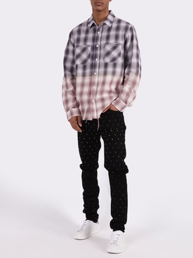 Distressed Ombre Plaid Button-Down PURPLE