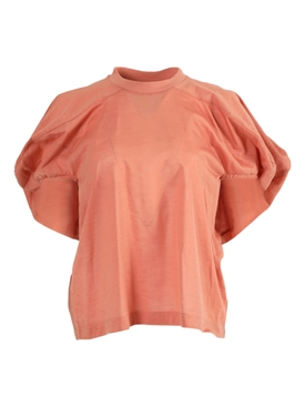 Puff-sleeved crewneck blouse PINK