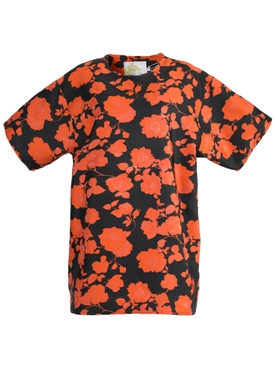 Marques'almeida - Black And Orange Floral T-shirt Dress - Women