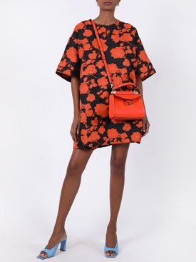 Black and Orange Floral T-shirt Dress