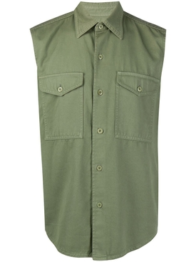 Buttoned sleeveless overshirt SAGE
