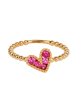 18kt Yellow Gold Ruby Heart Ring