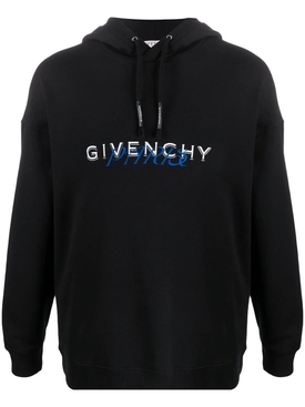 Givenchy - Paris Logo Drawstring Hoodie Black - Men