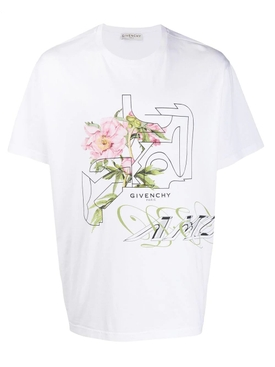 Peony print logo t-shirt WHITE