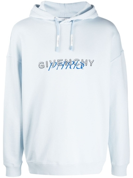 Givenchy - Paris Logo Drawstring Hoodie Mineral Blue - Men