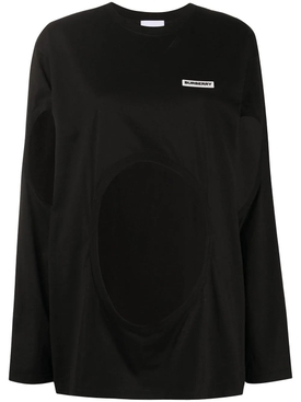 Black cut-out crewneck top