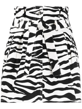 Zebra print denim skirt