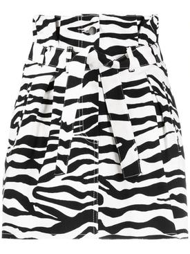 Zebra print denim skirt