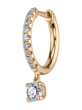 18kt Yellow Gold Huggie diamond earring