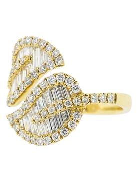 18kt yellow gold diamond leaf ring