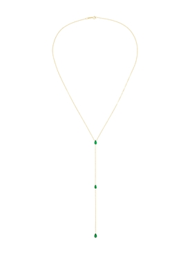 18kt Yellow Gold Emerald Lariat Necklace