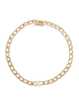 18kt Yellow Gold Chain Link Diamond Bracelet