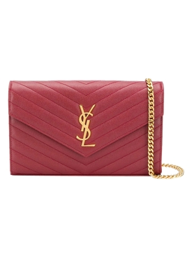 YSL Monogram Chain Wallet OPYUM RED