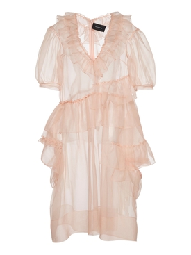 Silk Organza Ruffle Dress