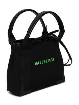 Cabas XS Handbag, Black and Fluorescent Green