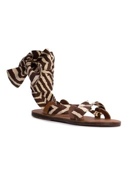 Brother Vellies - Zebra Flat Sandals Brown - Women