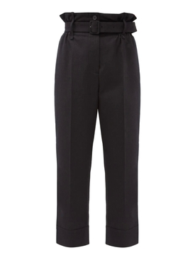 Black paper bag trousers