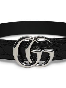 Croc-embossed Logo Belt, Black
