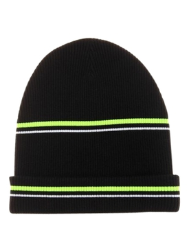 Striped Wool Beanie Hat BLACK  YELLOW