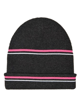 Striped Wool Beanie Hat CHARCOAL  PINK