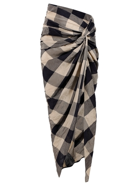 LOUIE CHECK PRINT SKIRT, NAVY AND SAND