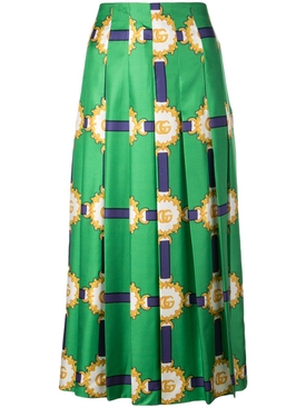 Green Double G patterned midi skirt
