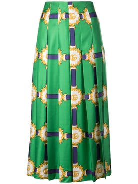 Gucci - Green Double G Patterned Midi Skirt - Women