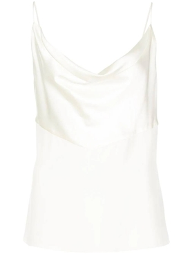 Silk cowl neck top WHITE