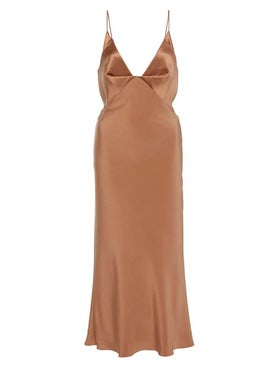 Cushnie - Silk Paneled Midi Dress Camel - Mid-length