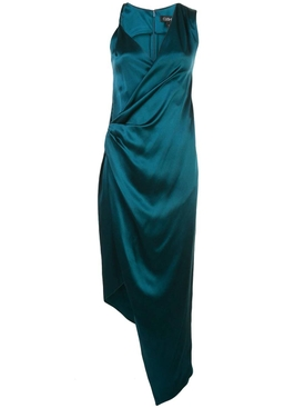 Silk teal asymmetric dress