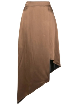 Asymmetric High Waisted Skirt CAMEL NAVY