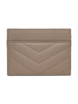 Quilted Monogram Card Case, Dark Beige