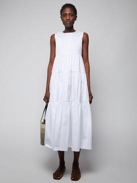 White tiered sleeveless dress