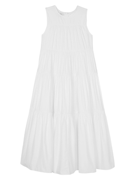 Co - White Tiered Sleeveless Dress - Women