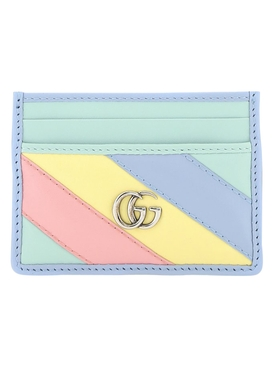 Multicolored pastel leather card holder