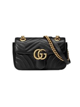 GG Marmont leather shoulder bag BLACK