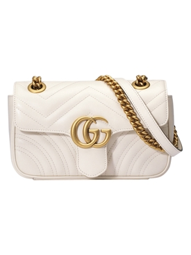 GG Marmont leather shoulder bag WHITE
