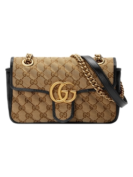 Gucci - Gg Logo Marmont Shoulder Bag Beige/ Black - Women