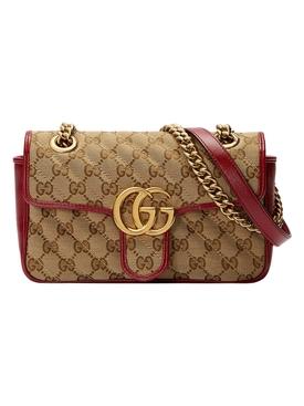GG Logo Marmont Shoulder Bag BEIGE  CHERRY RED