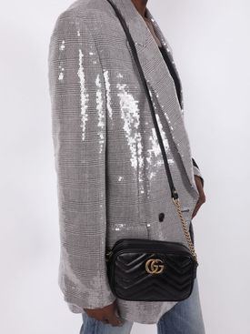 GG Marmont matelassé mini shoulder bag BLACK