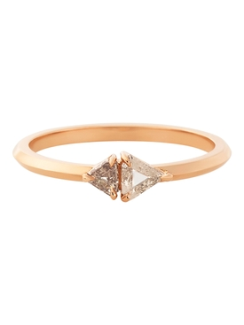 18k rose gold two stone prism band