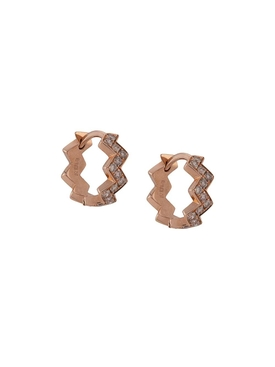 18K ROSE GOLD ZIGGY HOOP EARRINGS