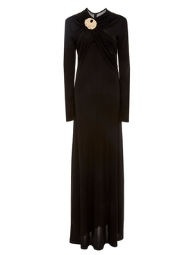 Co - Black Draped Crepe Dress - Women