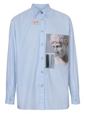 Burberry - Printed Button Up Shirt Blue - Women