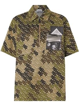 Short-sleeve Monogram Print Cotton Shirt GREEN
