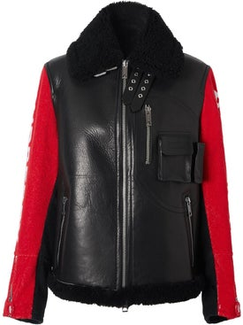 Burberry - Logo Leather And Shearling Jacket - Women
